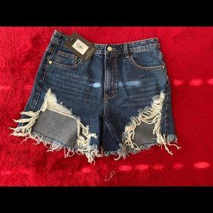Prettylittlething Medium wash denim shorts